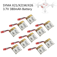 10pcs SYMA X21 X21W Battery Quadcopter Remote Control Helicopter Spare Parts 3.7V 380mah UAV Lithium Battery