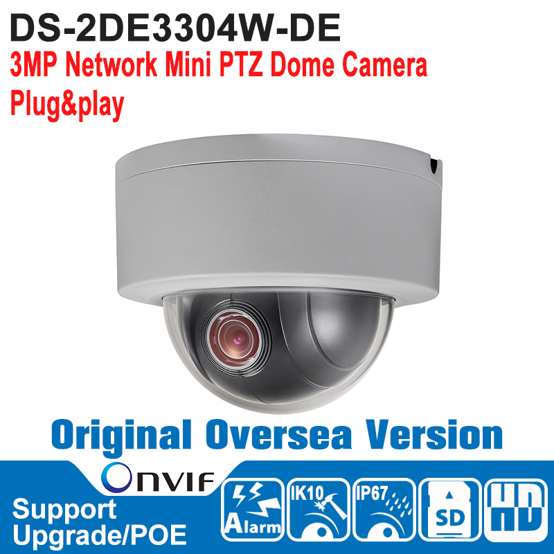 DS-2DE3304W-DE HIK PTZ Camera Outdoor 3MP Network Mini PTZ Dome Camera Speed Dome Camera POE Support Plug&Play IP67 IK10 ds 2df7274 ael hik ptz camera 1 3mp network ir ptz dome camera speed dome camera outdoor high poe ip66 h 264 mjpeg mpe