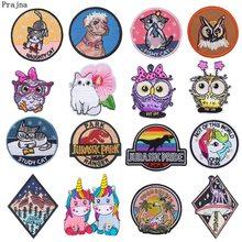 Prajna Black Cat Patch Jurassic Park Dinosaur Embroidered Badges Magic Rainbow Unicorn Iron On Patches For Clothing DIY Round