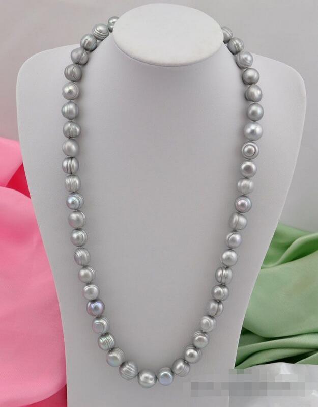"""Livraison Gratuite>> 24 """"13mm baroque gris perle d'eau douce collier"""