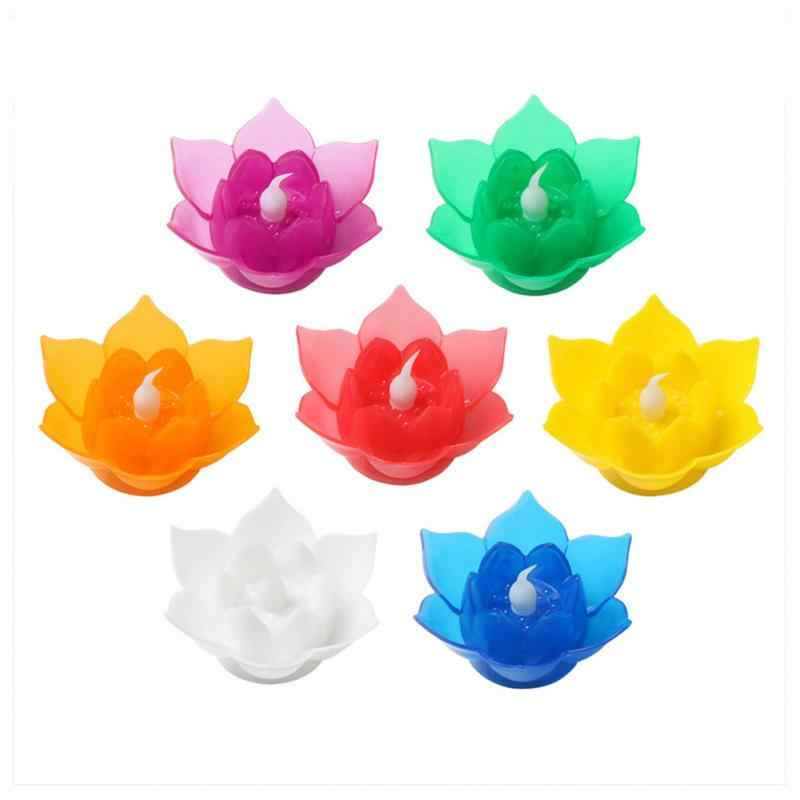 7 Colors Candle Lotus Flower LED Lamp Flameless No smoke Party Gifts Art Candle Light Party DIY home table garden Decor for wish