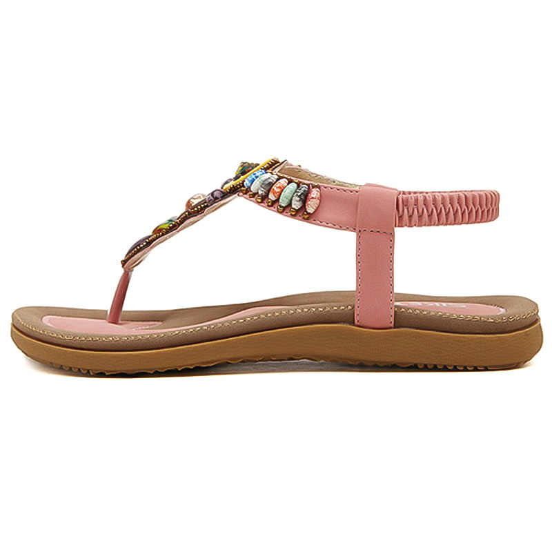 LAKESHI Bohemian Zomer Vrouwen Sandalen Grote Maat 44 45 Vrouwen Schoenen 2019 Slippers Vrouwen Platte Sandalen Strand Sandalen Dames sandalen