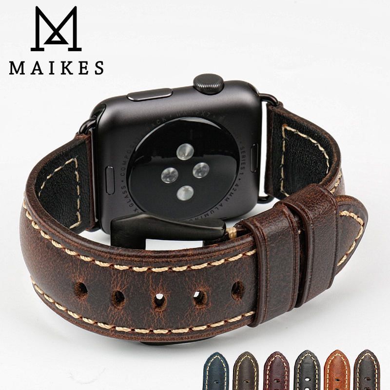 MAIKES watch strap vintage brown Italian leather watch accessories for Apple Watch Band 42mm 38mm series 2&1 iwatch watchbands new arrive top quality oil red brown 24mm italian vintage genuine leather watch band strap for panerai pam and big pilot watch