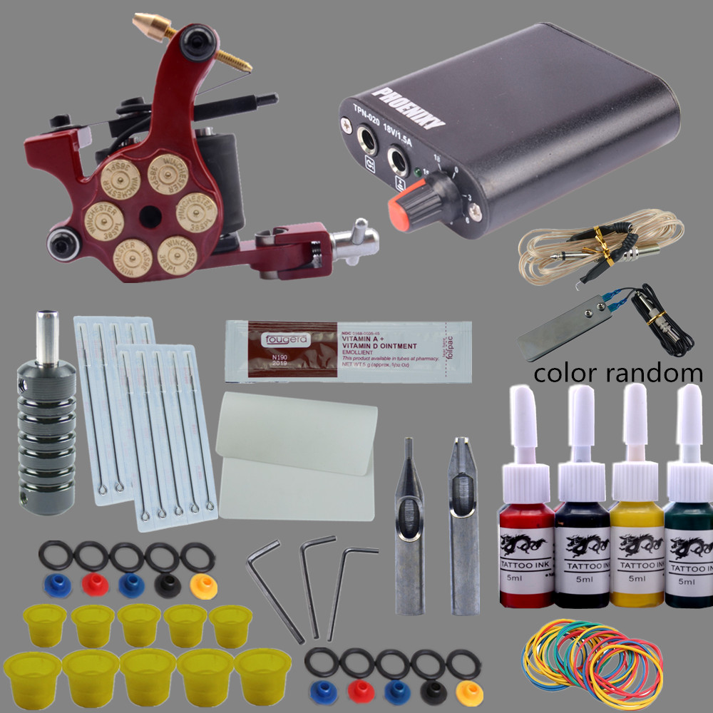 New Complete Tattoo Kit 1 Liner Tattoo Machine or Liner Shader Mini Tattoo Power Supply Tattoo Gun 4 Color Inks 10pcs Needles professional tattoo kits liner and shader machines immortal ink needles sets power supply