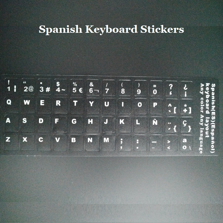 100pcs lot ES ESP Spanish Keyboard Stickers For Macbook Laptop Notbook PC Computer Keyboard Protector Sticker