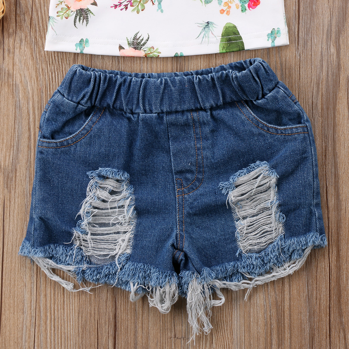 Mother & Kids Girls' Clothing Fashion Toddler Kids Baby Girl Off Shoulder Cactus Blouse Tops+ripped Denim Shorts Jeans 2pcs Outfits Clothing Set