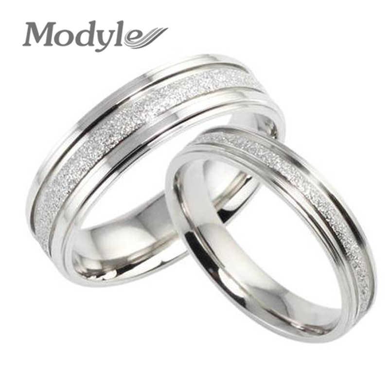 תכשיטים באיכות גבוהה 316L נירוסטה טבעות כסף-צבע משעמם פולני מעגל זוג אירוסין טבעת