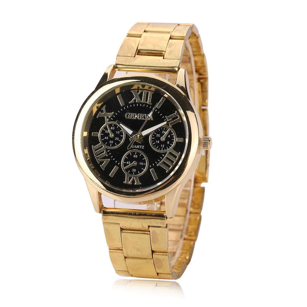 2020 New Brand Gold Geneva Casual Roman Number Quartz Watch Men And Women Stainless Steel Dress False Eye Watches