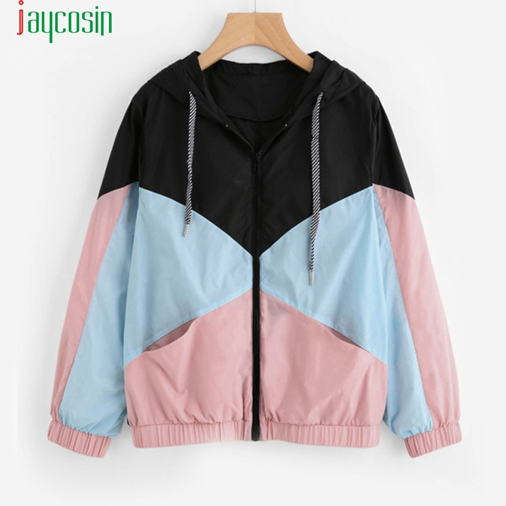 Sport-Coat Hood Sew-Windbreaker Zipper-Pockets Color-Block Long-Sleeve Multi-Color Casual title=