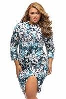 XL 3XL Plus Size Printing Dresses Slit Autumn Dress Big Size Unique Marble Print Big Girl