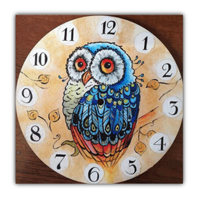 5D DIY Painting Diamond Owl Clock Cross Stitch Sewing Diamond Embroidery House Decoration Mosaic Wall Sticker