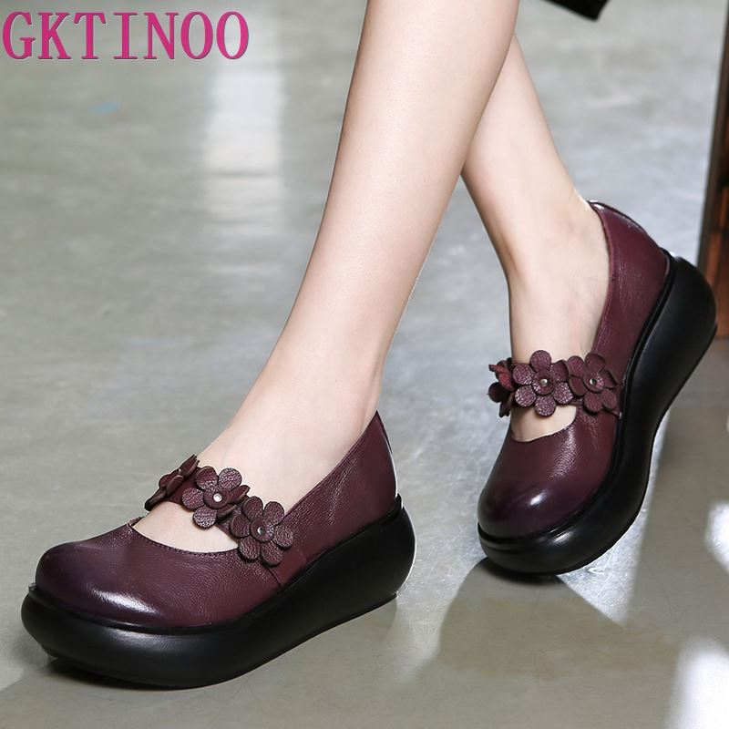 GKTINOO Cowhide Flower Platform Shoes Woman Wedges Genuine Leather Shoes Retro Casual Shoes 2019 Comfort Women Shoes High Heels-in Women's Pumps from Shoes    1