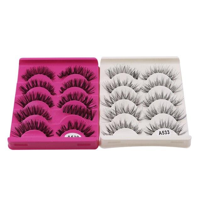 5Pair/Box Eyelashes 3D Artificial Fiber Long Lasting Lashes Women Volume Eyelashes Extension False Eyelashes 4