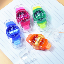 novelty mini colourful pencil sharpeners grinder with erasers brush for office school girls supplies machine sharpener