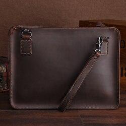 Carpetas de archivos A4 clásicas para documentos portafolio retro maletín de cuero genuino bolso para macbook ipad tablet bolsa titular