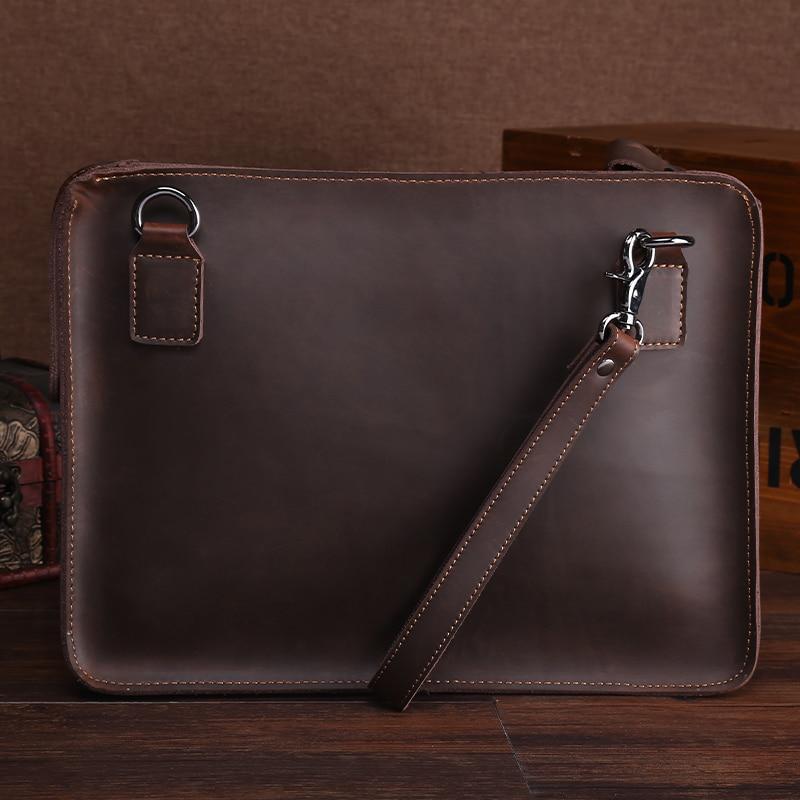 Classic A4 File Folders For Documents Portfolio Retro Genuine Leather Briefcase Handbag For Macbook Ipad Tablet Bag Holder
