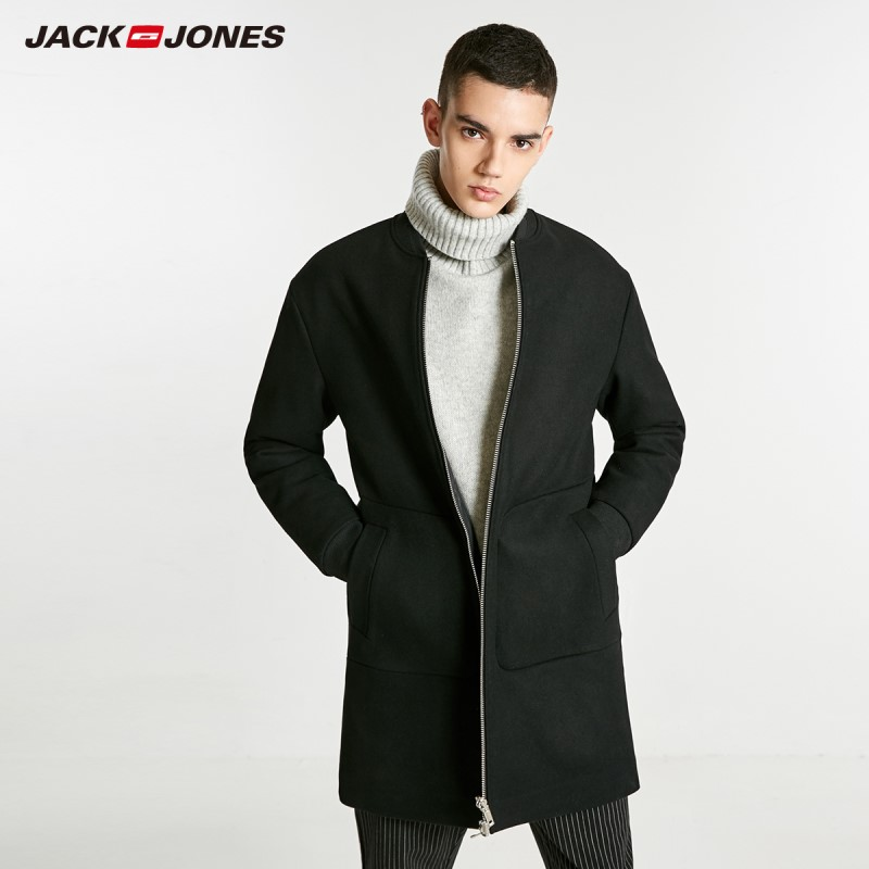 JackJones Men's Wool Coat Woolen Basball Collar Long Jacket Style Menswear 218427509