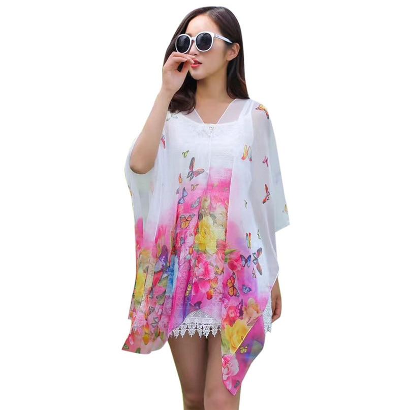 Swimwear Women Beach Tunic Bikini Cover Up Chiffon Printing Sunscreen Shawl Silk Scarf Button beach pareo Rash Guards #3j03#F (25)