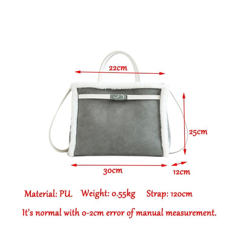 Korean handbag large capacity bucket hand bag designer big tote designer Fur women messengerc winter shopping wool no lock 81