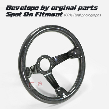 Car-styling Universal Fit Dry Carbon Deep Dish Type Steering Wheel 335mm Diameter (Deep Around 60mm, 6 Bolts 70mm PCD)