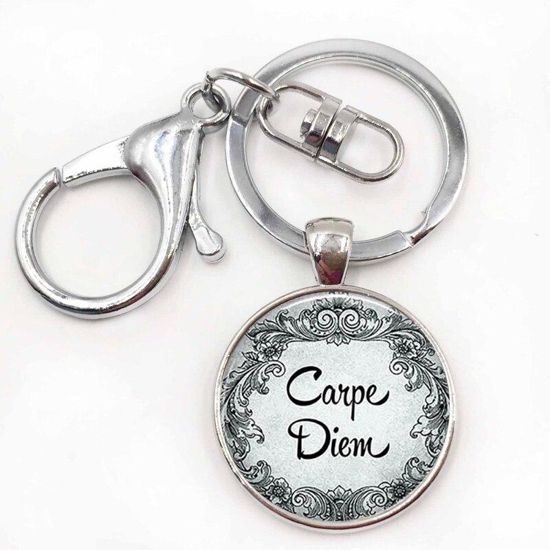 Carpe Diem Pendant Seize The Day Inspiration Quote Jewelry Empowerment Key Chain Keyring Keyfob