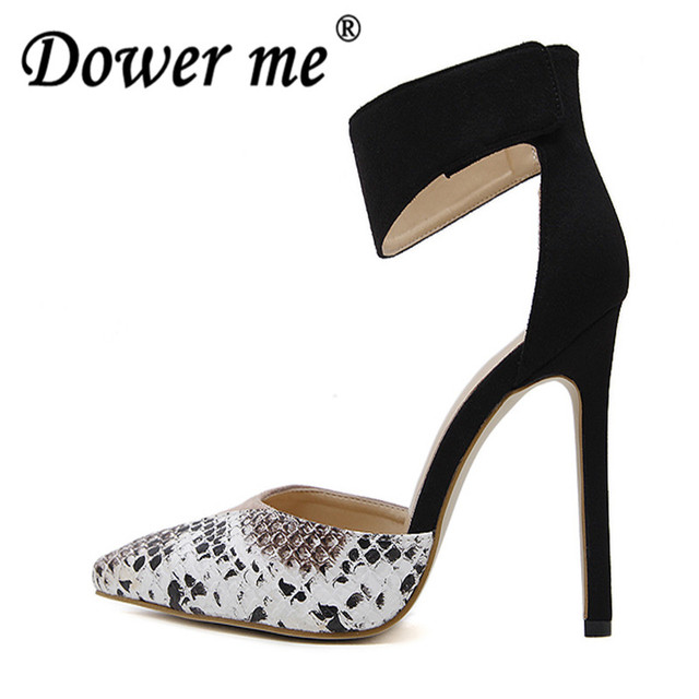 2d11505f590 2018 Nes Mixed Colors Serpentine Sexy Women High Heels Ankle Hook-Loop  Pointed Toe Stiletto Pumps Ladies Banquet Party Shoes