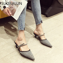 SUOJIALUN Elegant Women Mules Slippers Pointed Toe Bling Sequined Sandals Slip On Outdoor Half Slippers Bling Lazy Zapatos Mujer hanbaidi luxury bling bling sequined cloth women summer slippers candy color bowknot decor peeptoe slip on celebrity shoes