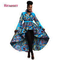 2018 Autumn African Trench Coat for Women African Tops Clothing Africa Print Outfits Dashiki Office Outwear Plus Size WY1266