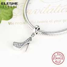 Fit Original ELESHE Charm Bracelet 925 Sterling Silver Jewelry High Heeled Shoes Crystal Clear CZ Crystal European Charms Beads
