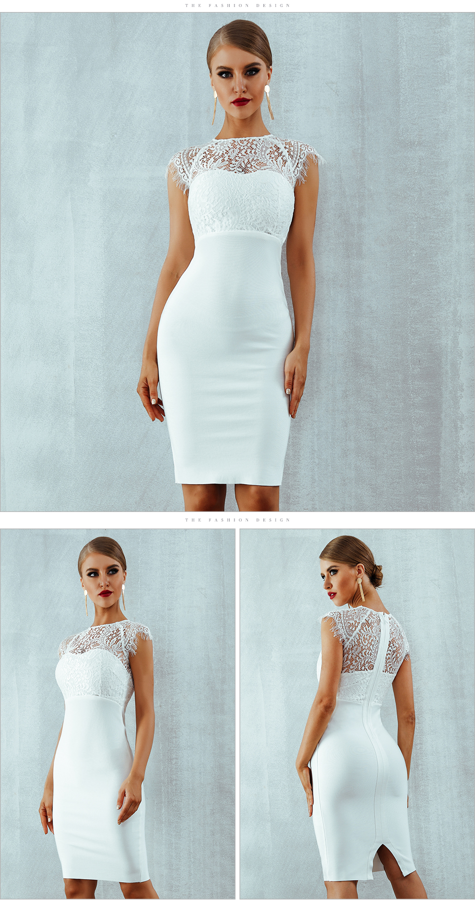 Adyce 2018 New Summer Women Bandage Dress Vestidos Sexy White Lace Short Sleeve Hollow Out Midi Club Dresses Evening Party Dress 6