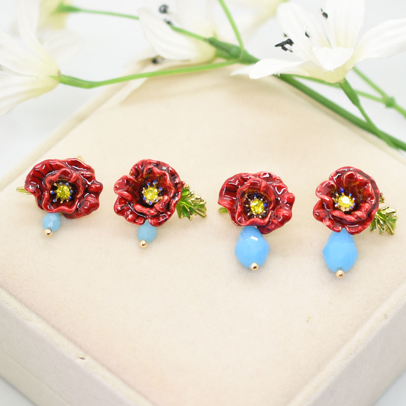 Flower Stud Earring For Women Enchanting Poppy Earrings Good Gift Enamel холодильник hansa fm050 4