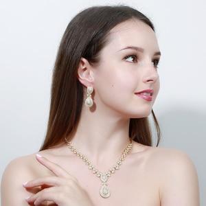 Image 2 - CWWZircons Noble Micro Pave cyrkonie luksusowe dubaj złoty kolor naszyjnik biżuteria ślubna dla nowożeńców zestawy dla kobiet T157