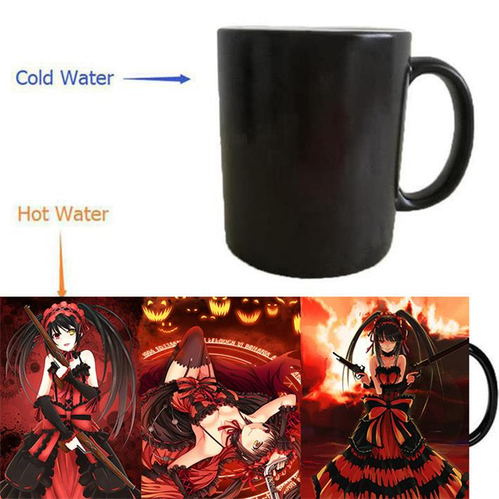 Tokisaki Kurumi mugs Date A Live mugs heat changing color heat reveal magic beer tea coffee