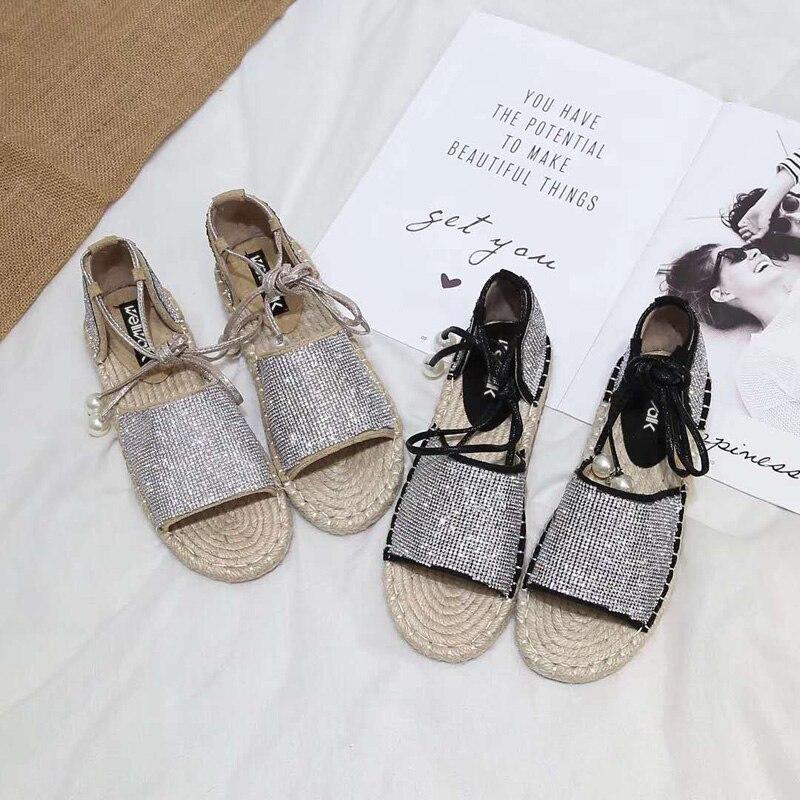 2018 Women Fisherman Shoes Spring Autumn Crystal Flock Sandals Summer Outside Causal Women Hemp Shoes Size 34-38