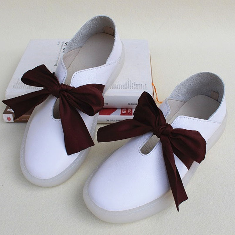 Chaussures femme sans lacet plates baskets 100% en cuir véritable dames chaussures plates grand noeud papillon rose blanc femmes mocassins (2018-5)