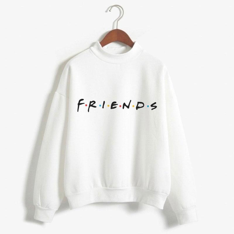 Autumn Winter Kawaii Tees Tops Harajuku Tee Shirt Femme Long Sleeve Friends T Shirt White Women Kawaii Turtleneck Tshirts Casual