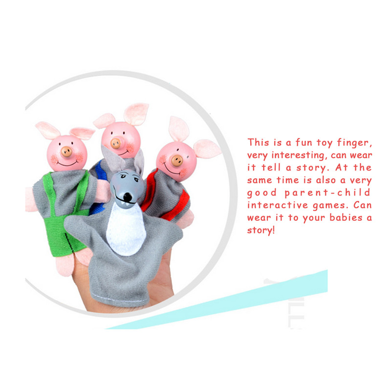 4PCS Little Cute Pigs And Wolf Cartoon Wooden Finger Puppets Child Baby Favor Dolls Boys Girls Finger Puppets Christmas Gifts