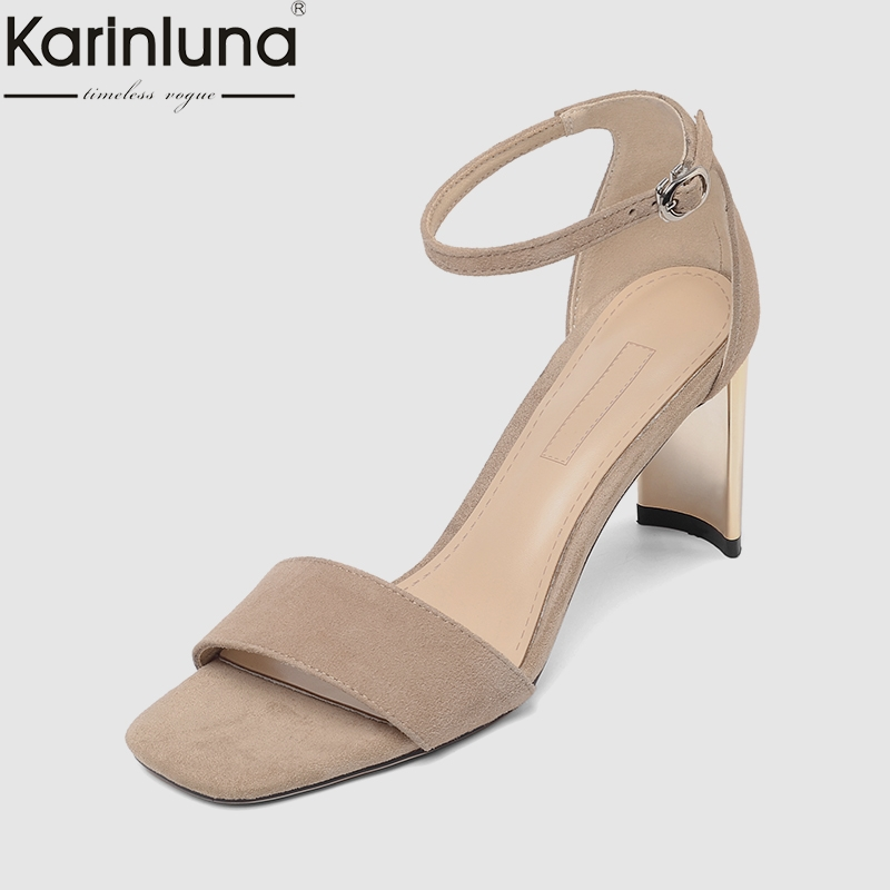 KarinLuna hot sale Sexy Women Whole Genuine Leather Sandals Summer Plus Size 33-43 High Heels Elegant Women Shoes WomanKarinLuna hot sale Sexy Women Whole Genuine Leather Sandals Summer Plus Size 33-43 High Heels Elegant Women Shoes Woman