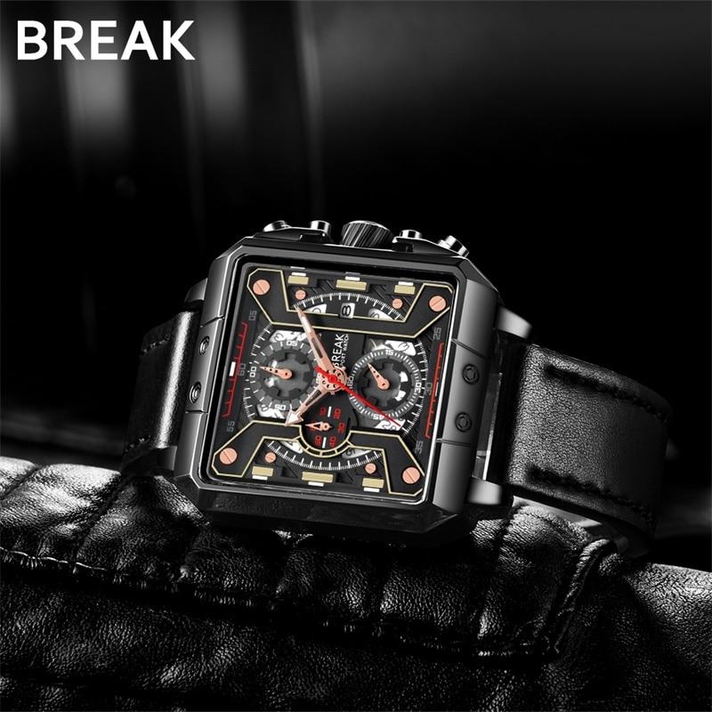 BREAK Top Luxury Brand Quartz Sport Watches Leather Strap Calendar Chronograph luminous Wristwatch for Man Relogio Masculino
