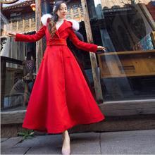 Женское красное шерстяное пальто с поясом в винтажном стиле зимнее пальто с длинным рукавом и капюшоном приталенное праздничное Макси-пальто