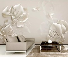 3D Wallpaper embossed magnolia flowers birds white background