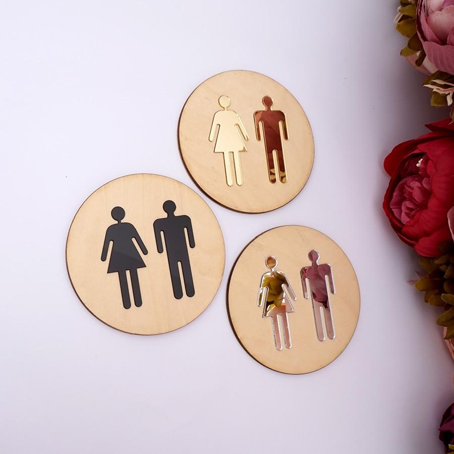 5mm Round Toilet Door Sign Men Women Wood Bathroom WC Acrylic 3d Black Gold Silver Mirror Surface Wall Sticker Home Decor Favor