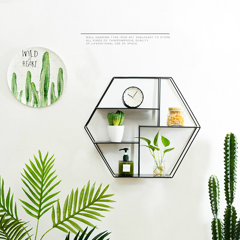 New Nordic Wind Hexagon Iron Storage Racks Living Room Bedroom Wall Decoration Storage Wall mounted Storage