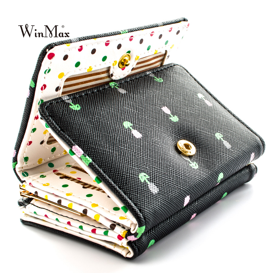 Winmax high quality Brand 3 fold floral Wallet women girls small Cion Purse Lovely PU Leather girls Wallet Female Coin Wallets leeshang marvel captain america bi fold wallet dft 1007a for dft 1995 fold mini small wallet