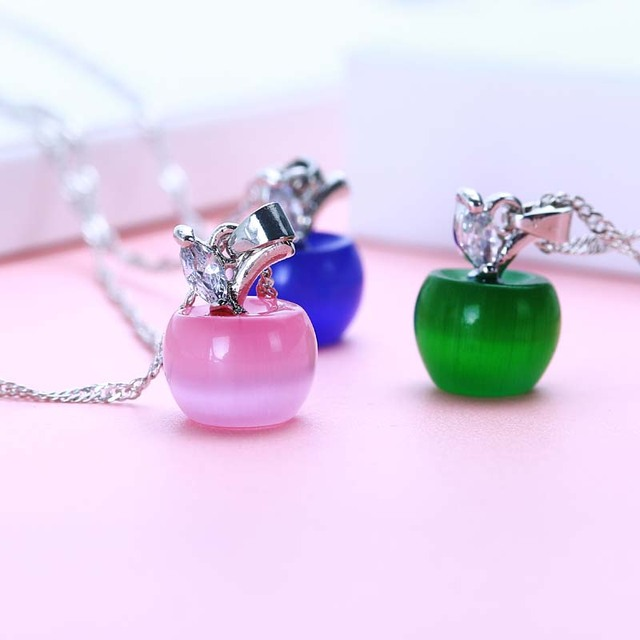 Fashion Jewelry Lovely Pink White Opal Apple Necklaces For Women Girls Silver Co