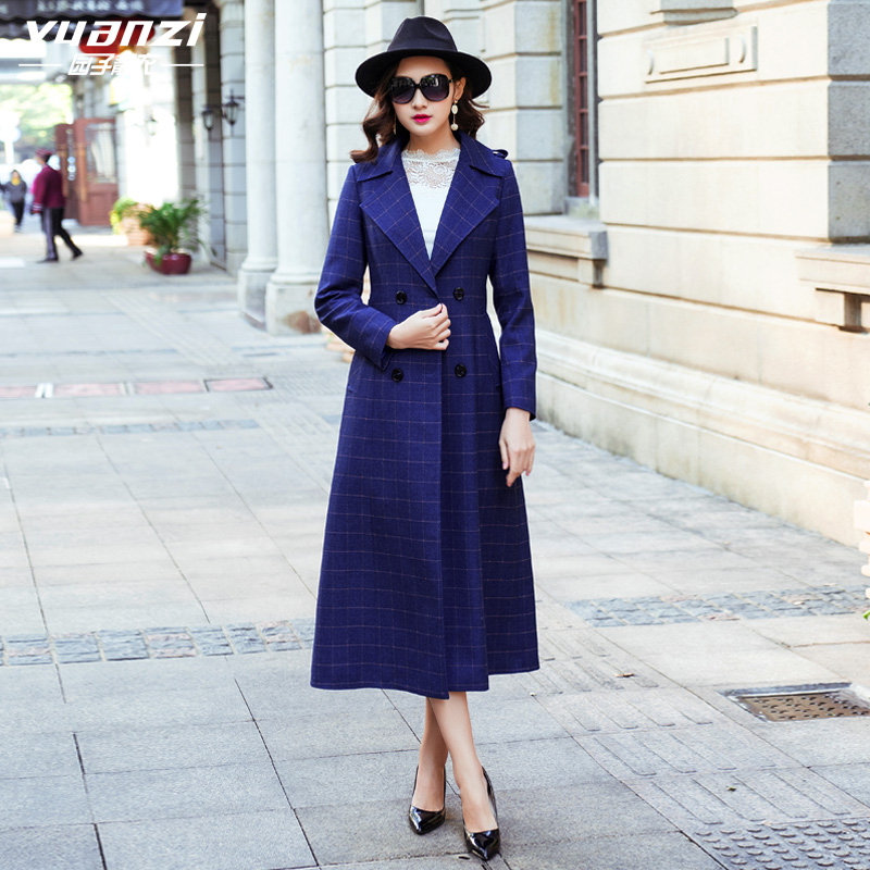 New Spring Coat 2018 Autumn Trench Coat Women Double Breasted Turn-down Collar Plus Long Slim Blue Plaid Womens Windbreakers
