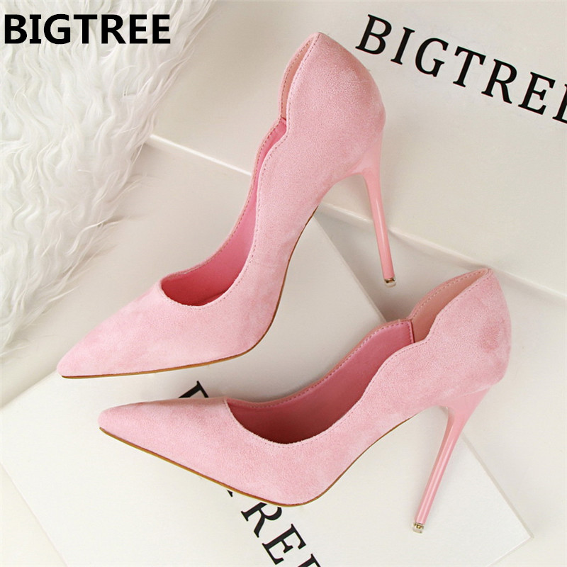 BIGTREE 2018 New Arrival Sexy Pointed Toe Office Shoes Womens Concise Solid Flock Shallow High Heels 10.5cm Shoes for WomenBIGTREE 2018 New Arrival Sexy Pointed Toe Office Shoes Womens Concise Solid Flock Shallow High Heels 10.5cm Shoes for Women
