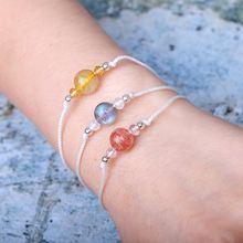 925 silver Lucky Bracelet Natural Stones Labradorite Rutilated Strawberry Quartz Fine Friendship Unique jewelry Handmade недорого
