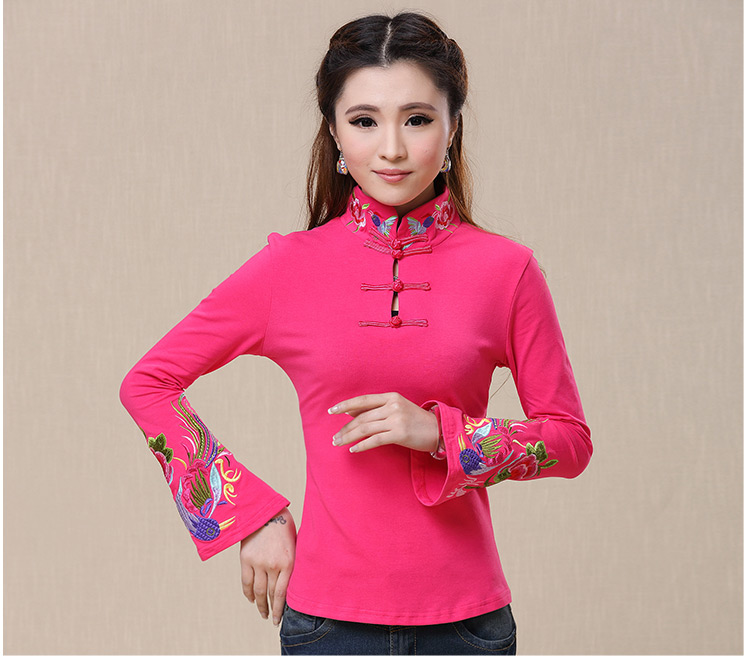 c78449466a2 women s 2016 autumn spring ethnic black white stand collar mexican  embroidered t shirt female long sleeve peasant top blusa-in T-Shirts from  Women s ...