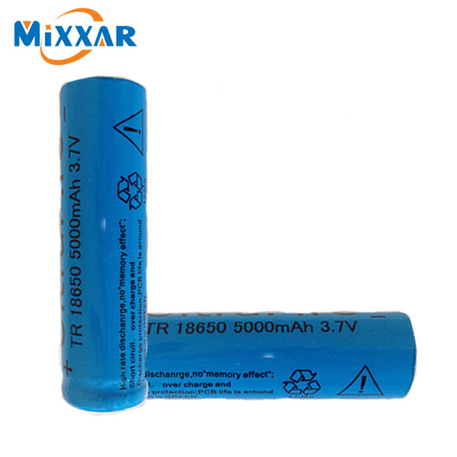 2ピースは強い光懐中電灯充電式リチウムバッテリー3.7ボルト18650 5000 mahリチウムバッテリー